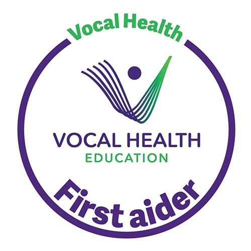 Vocal Health Education First Aider logo.